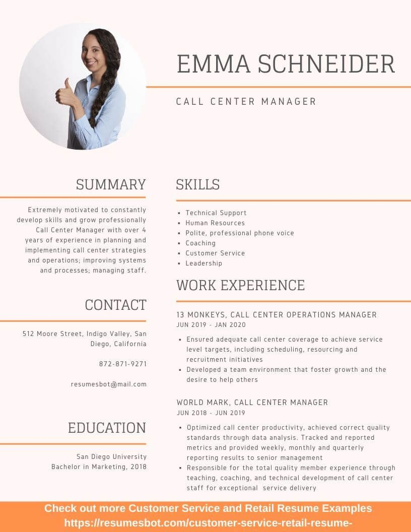 Call Center Manager Resume Samples And Tips Pdf Doc Resumes Bot Retail Resume Examples Job Resume Examples Manager Resume