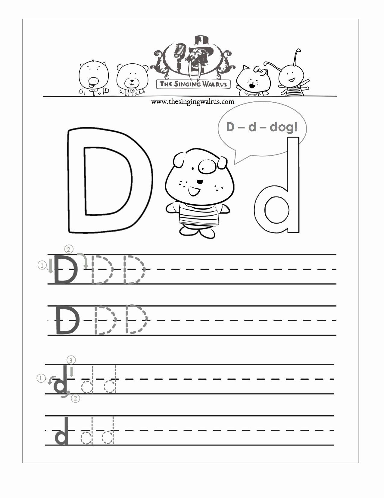 Letter D Worksheet For Preschool Luxury Free Handwriting