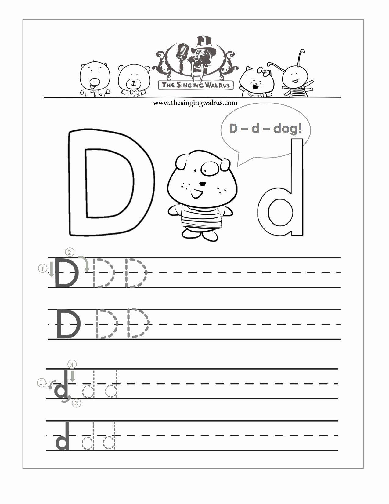 Letter D Worksheet For Preschool Luxury Free Handwriting