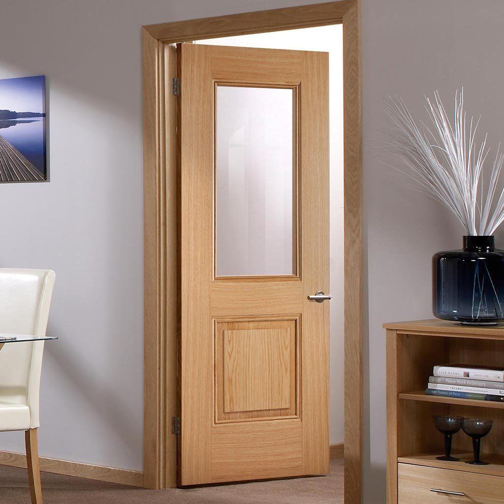 Arnhem 1 Pane 1 Panel Oak Door Clear Glass Prefinished Oak Doors Safety Glass Home Decor