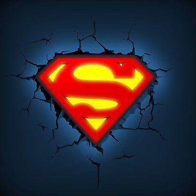 Superman logo dc comics 3d wall deco night light character night superman logo dc comics 3d wall deco night light character night lights lighting aloadofball Images