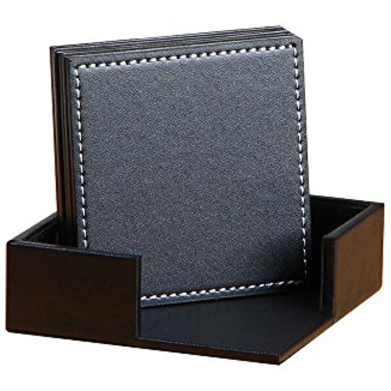 YAPISHI PU Leather Coasters , Table Mats with Holder for