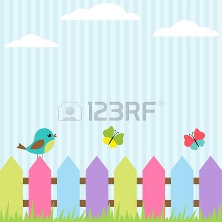 Background with bird and flying butterflies photo