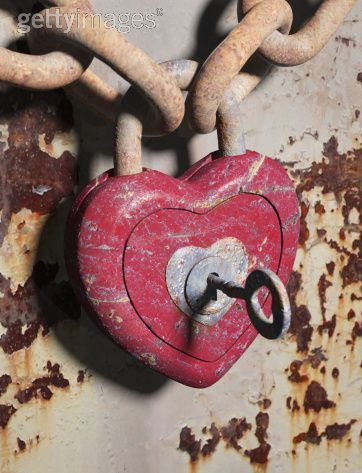 Old Scratched Painted Heart On A Chain With Key Inside Painted Hearts Heart Shapes Heart Shaped Lock
