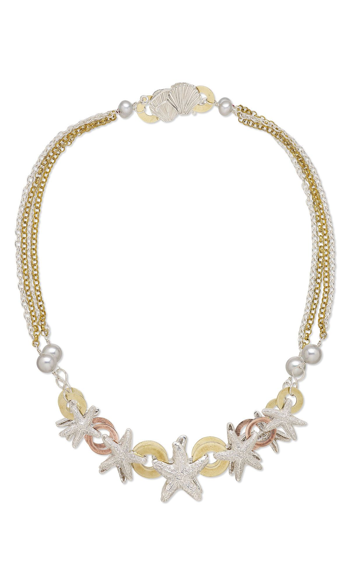 Jewelry Design - Multi-Strand Necklace with PMC3™ (Precious Metal Clay) and Pearls - Fire Mountain Gems and Beads