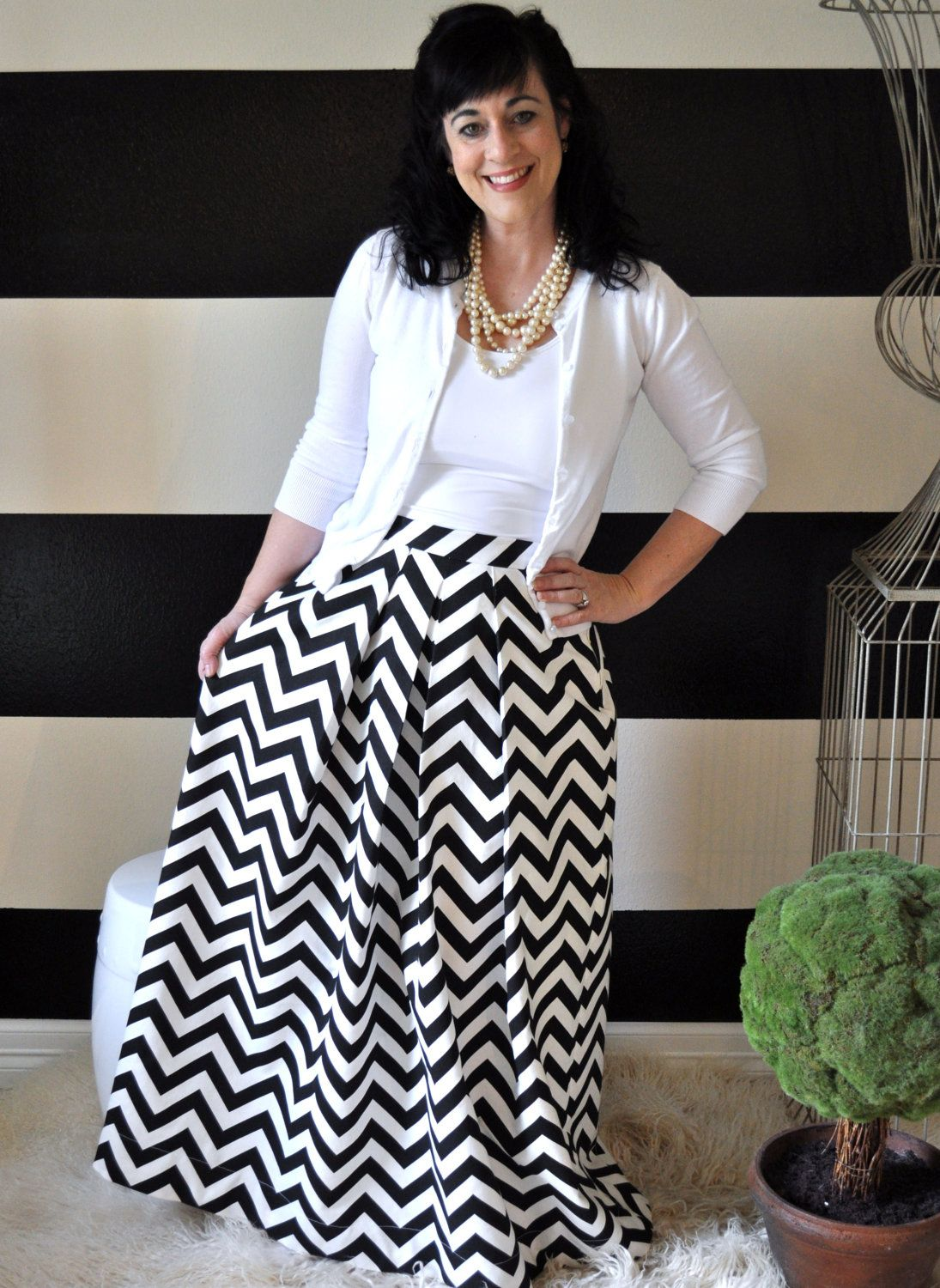 Black and White Chevron Striped Katie Ball Skirt full pleated and ...
