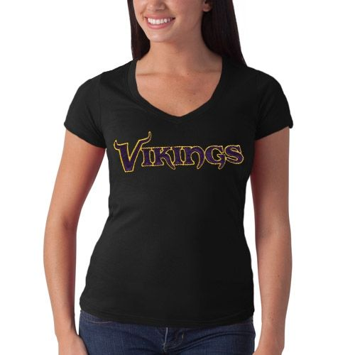 NFL  47 Brand Minnesota Vikings Women s Showtime V-Neck T-Shirt - Black b23f2626c