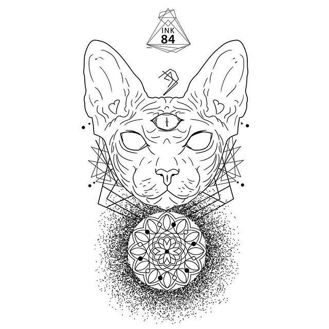 Tattoo Design Tattoodesign Ink84 Dotwork Linework Mandala Sphynxtattoo Sphynx Sphinx Cat Neko Kedi Fac Cat Face Tattoos Cat Tattoo Animal Tattoos