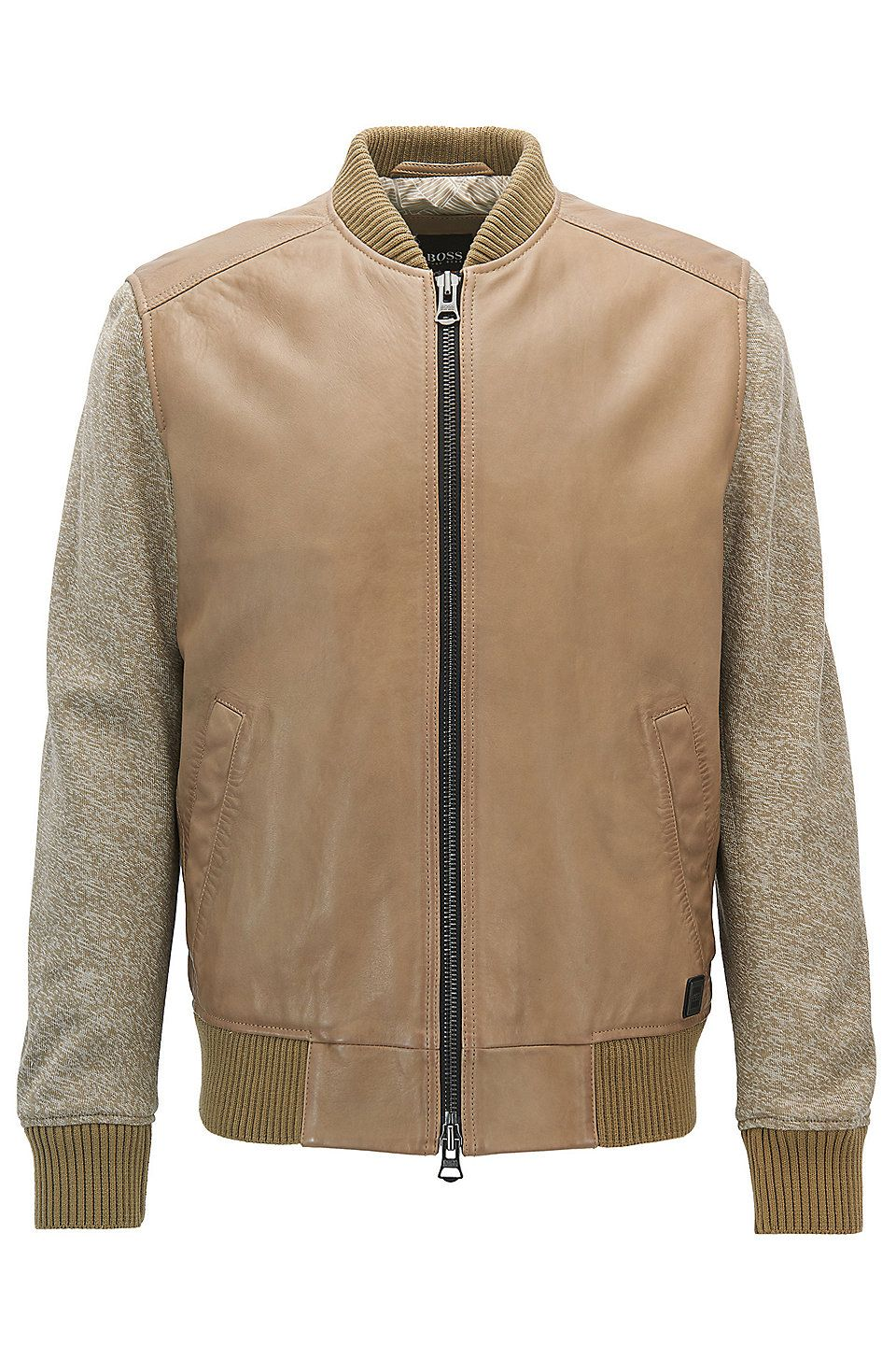 Hugo Boss Bomber Jacket In Leather With Knitted Sleeves Beige Leather Jackets From Boss For Men In The Official Hu Bomber Jacket Jackets Beige Leather Jacket [ 1456 x 960 Pixel ]