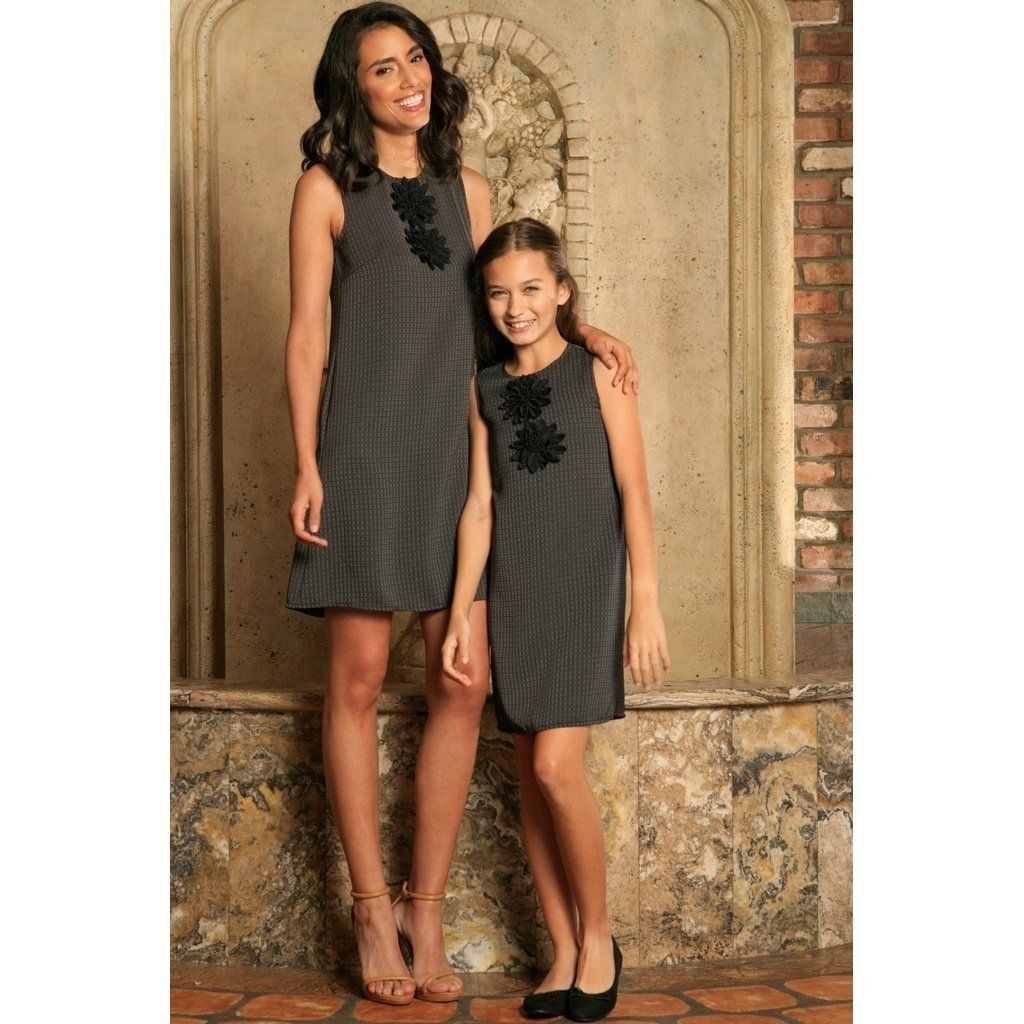 1596bf56c1 Black Grey Sleeveless Fancy Classy Party Cute Shift Mommy and Me Dress