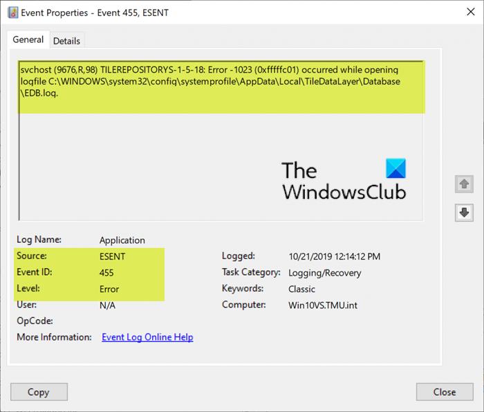 Event Id 455 Esent Error Event Id Windows 10 Pc Repair