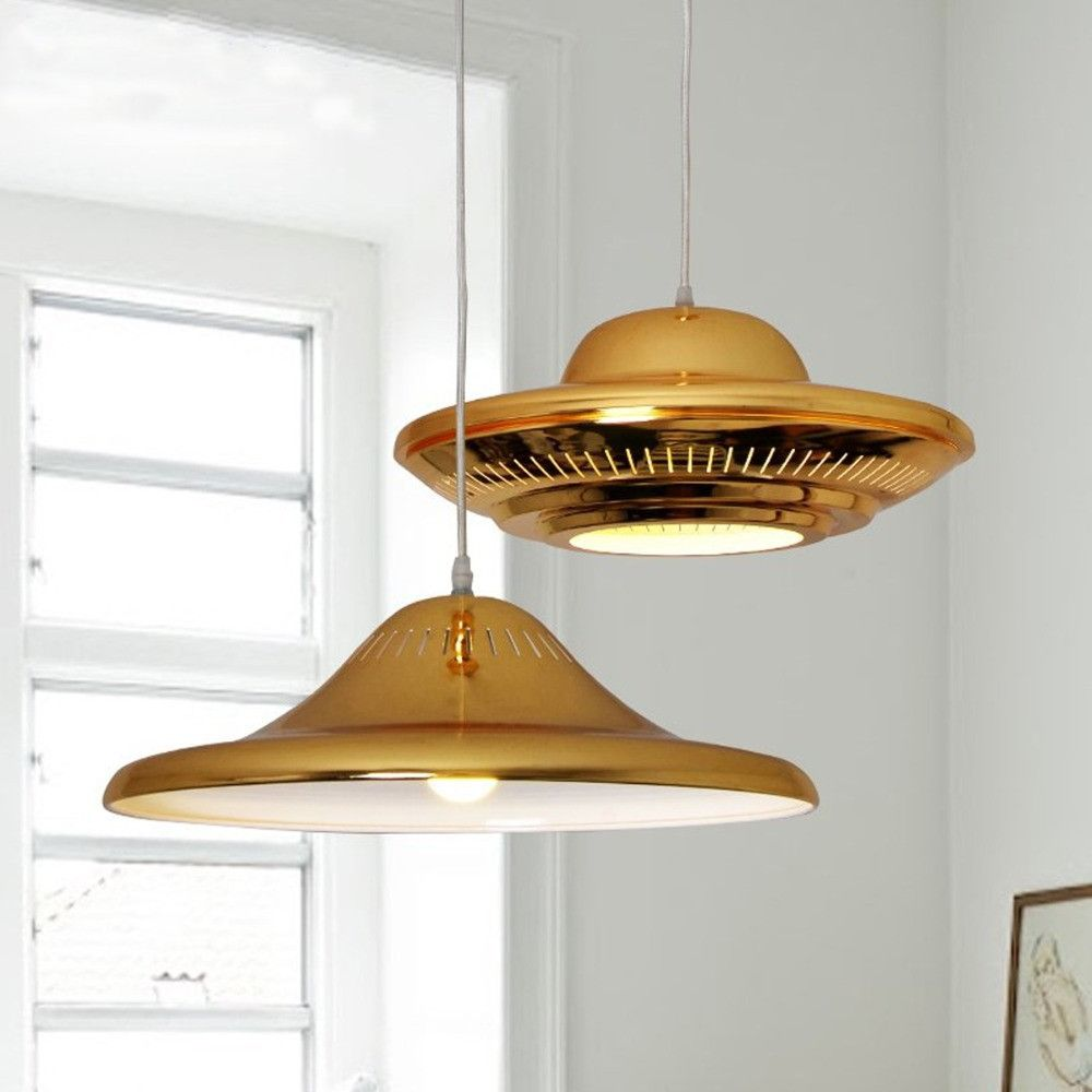 Modern Luxury Golden LED Pendant Light Flying Saucer UFO Shape