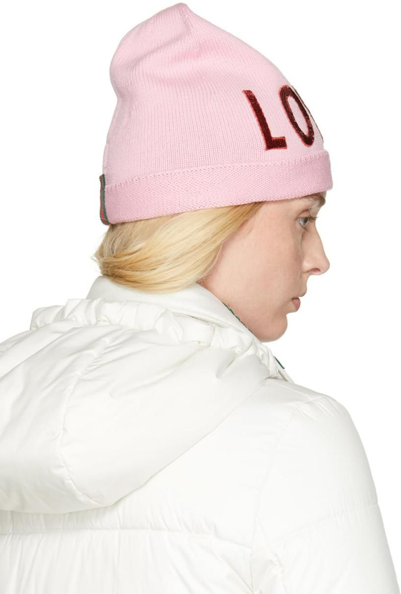 c9749e02822ed GUCCI Sequin Embroidered Loved Knit Hat In Pink