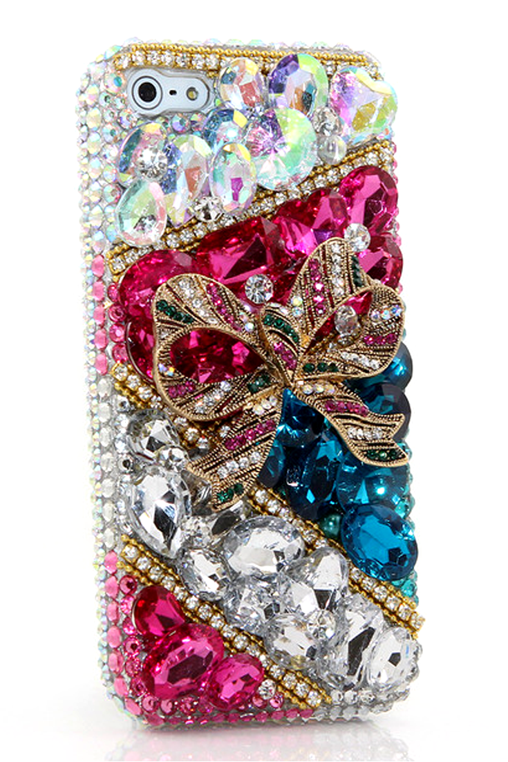 Pretty Present Design lifeproof iPhone 5 5s 5c bling cases girly phone cover awesome style for girl's fashion