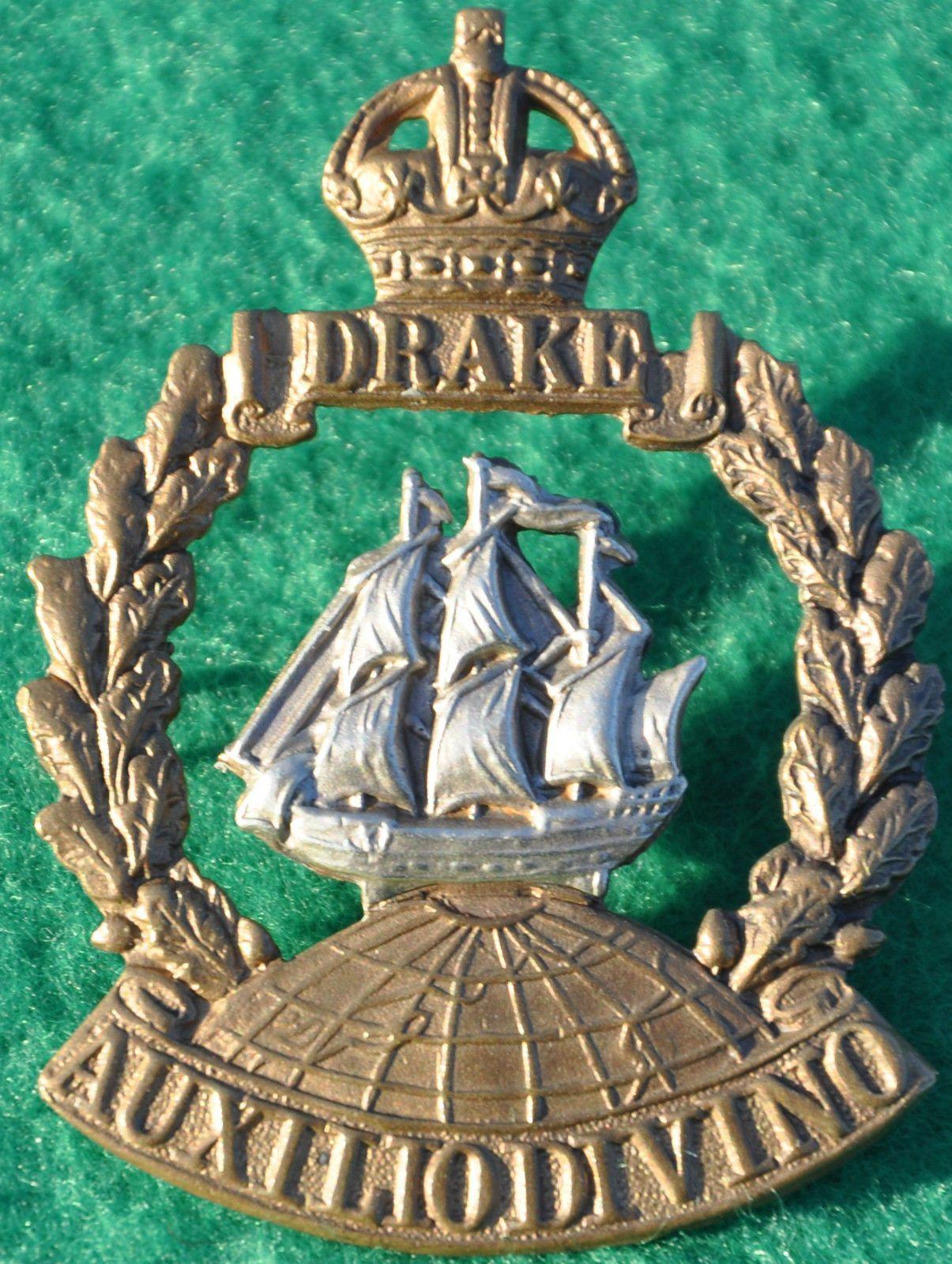Kk 1st Drake Battalion Royal Naval Divison Ww1 Cap Badge 41 X 55mm