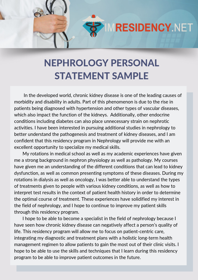 Nephrology Personal Statement Sample Personal Statement Examples Personal Statement Internal Medicine