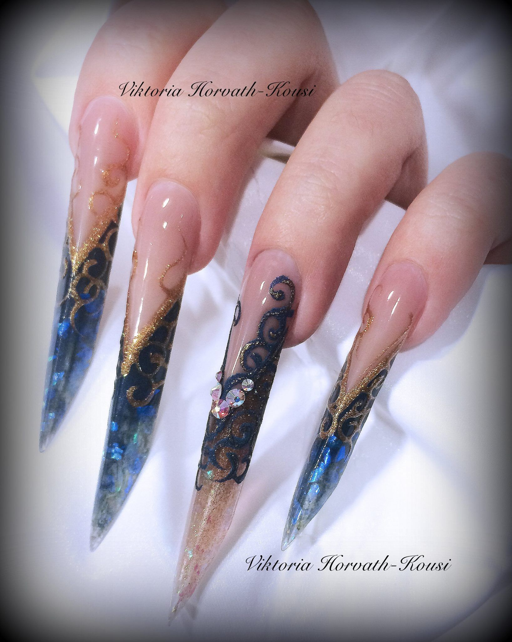 Edge shaped nails with sugar effect | Nail Art by Viktoria ...