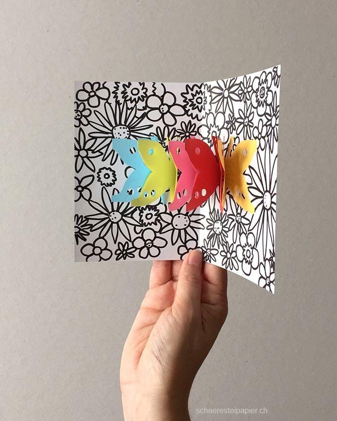 schmetterlinge auf der blumenwiese pop up karte schulideen pop up karten vorlagen basteln. Black Bedroom Furniture Sets. Home Design Ideas