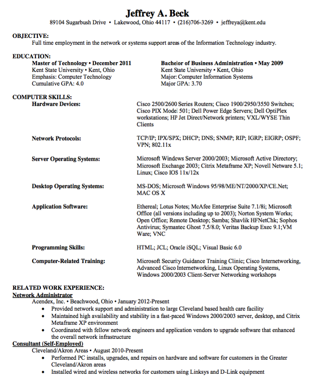 Sample Resume Network Administrator Free Resume Sample Cover Letter For Resume Resume Examples Administration