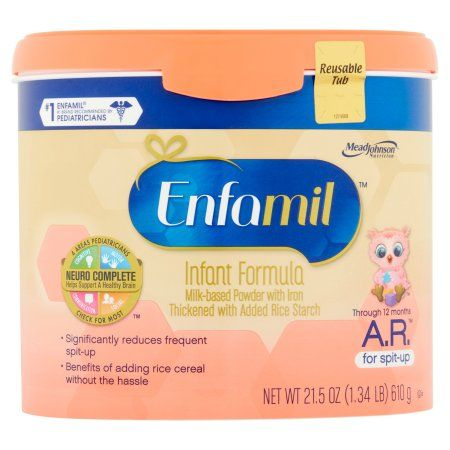 Enfamil A.R. baby formula – 21.5 oz Powder in Reusable Tub, Pack of 4