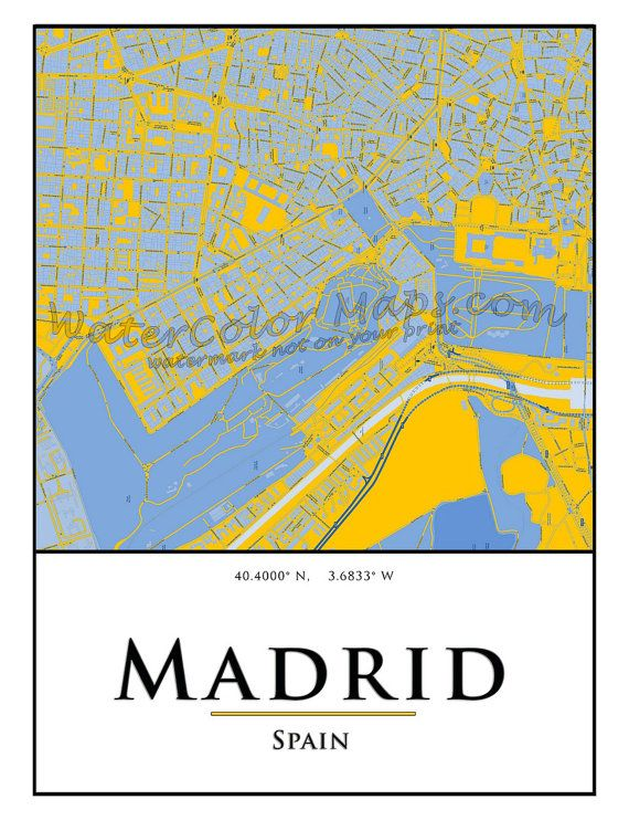 MADRID STREET Map Spain Watercolor City Map Wall by WaterColorMaps