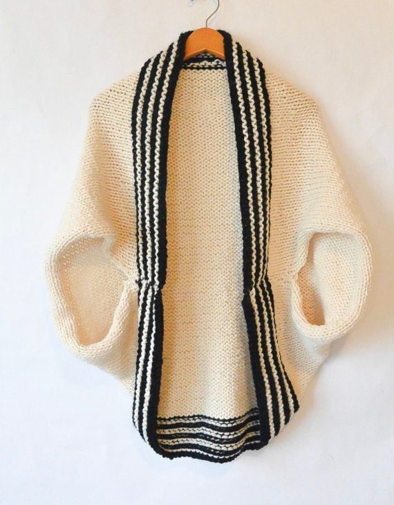 Easy Sweater Pattern Beginner Knit Shrug Pattern Black White