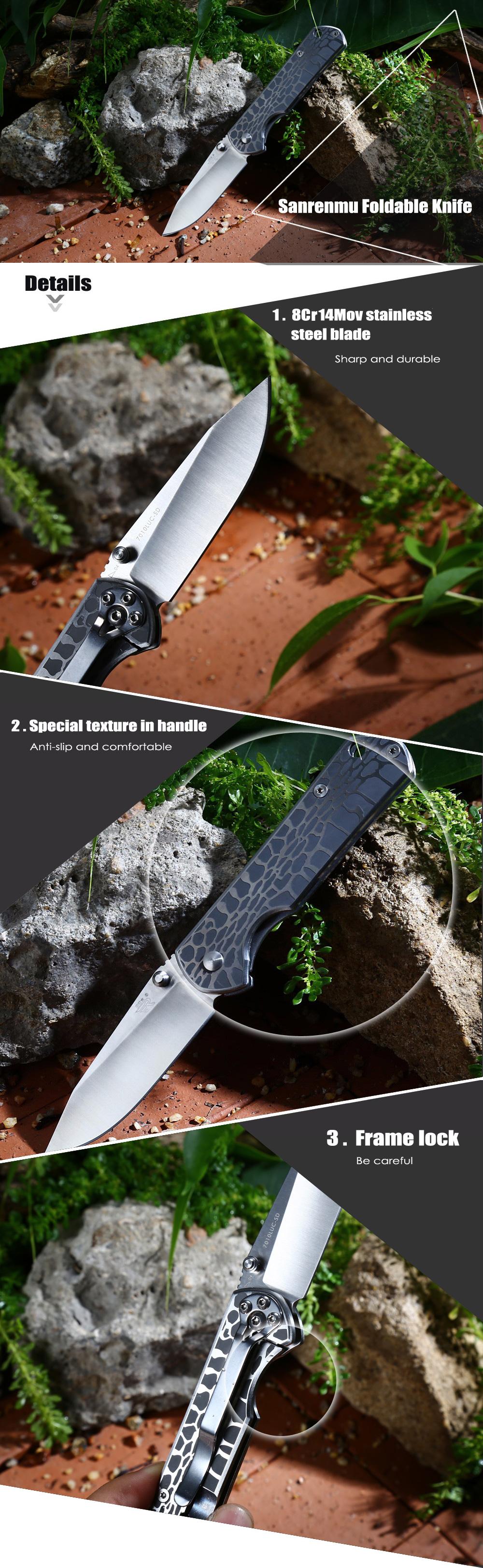 Sanrenmu 7010 LUC - SD Frame Lock Foldable Knife  -  SILVER - sanrenmu knives, knife, knife hiking, knife travel
