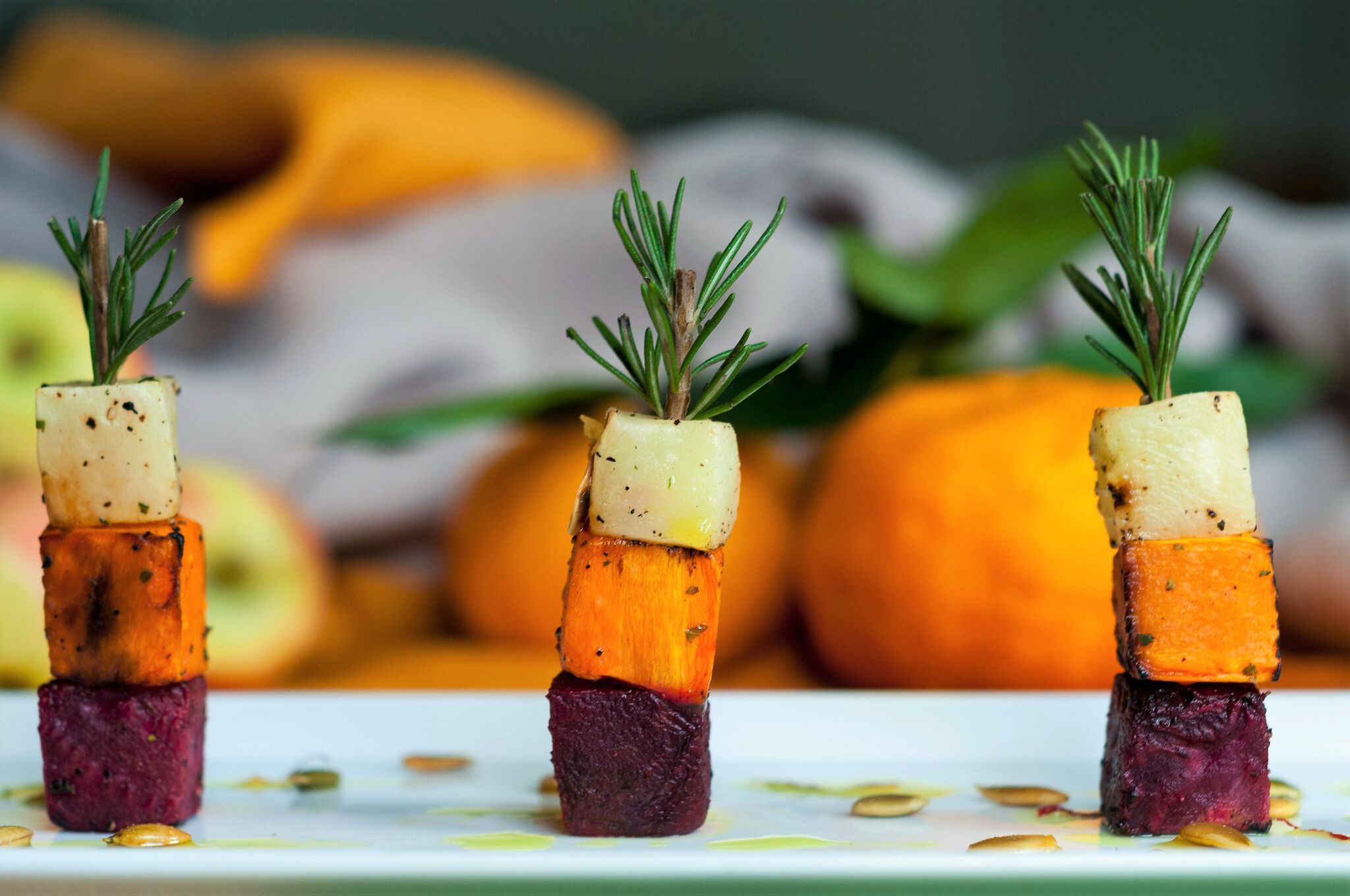 Diving into Fall Foods! Roasted root vegetable skewers - the ultimate tray passed hors d'oeuvre to add to your Fall event menu for capturing the perfect flavors, colors, and textures that celebrate this magical season!