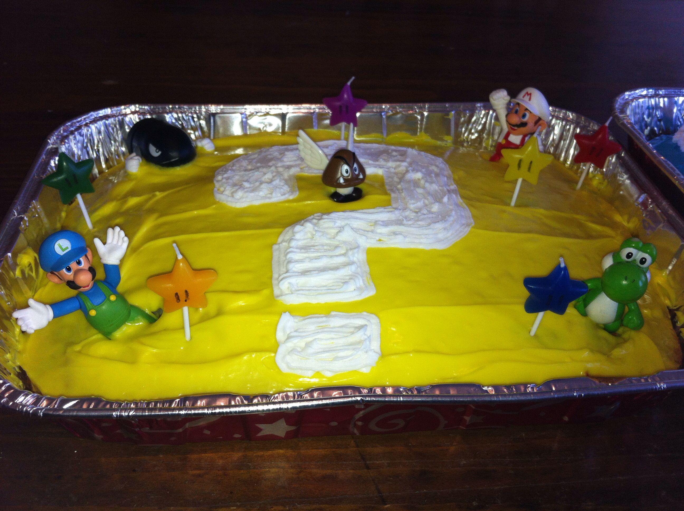 Super Mario Cake For A Mario Themed Birthday I Used My Son S