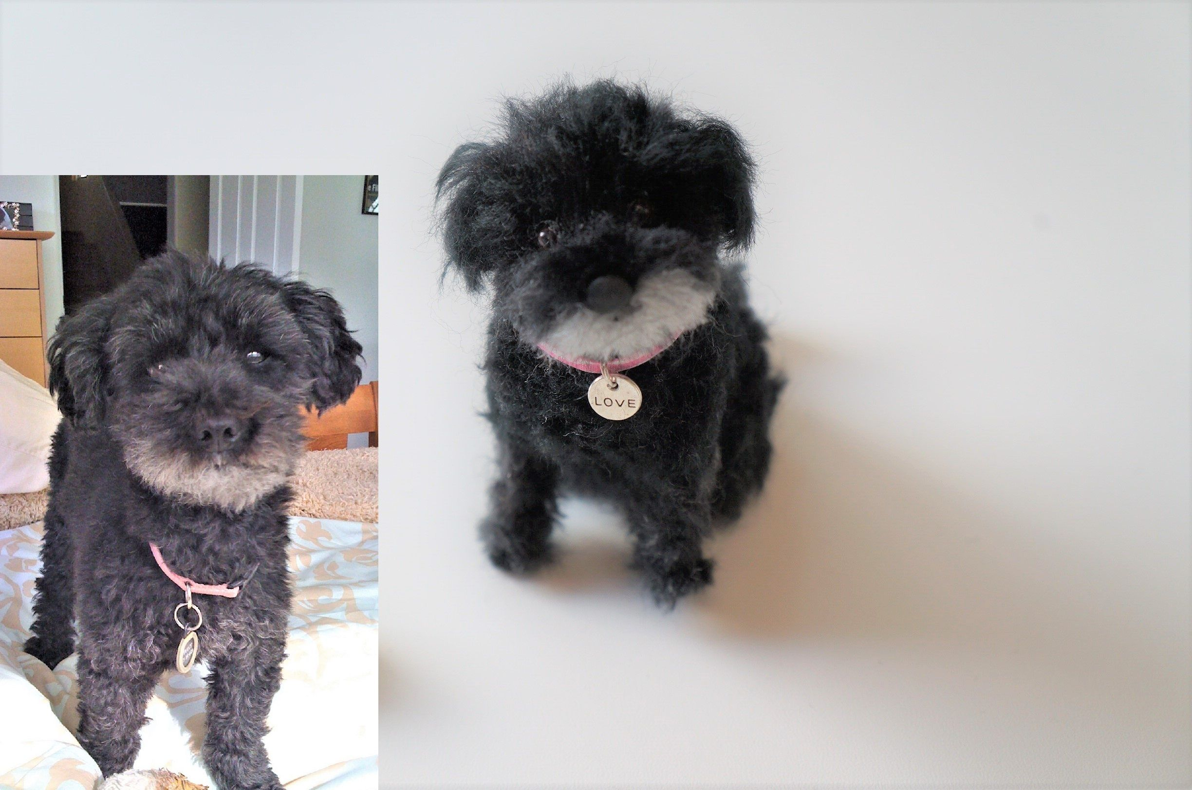 """This is """"Dolce"""". Not sure of the breed. Maybe a poodle?  #JanetsNeedleFelting #3dpetportrait #petreplica #petloss #handmadegift #arts #dogart #poodle #diy #petmemorial"""