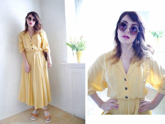 Vintage Dress blass gelb Maxi-Bluse Kleid von SuitcaseInBerlin