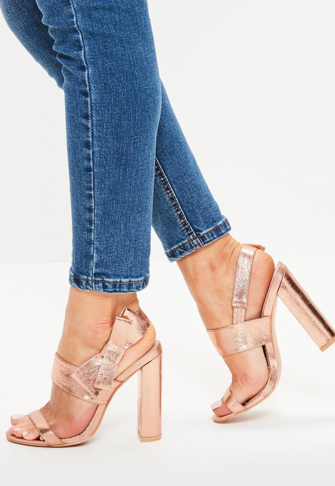 a81e6b252de Missguided - Rose Gold Side Bow Block Heeled Sandals