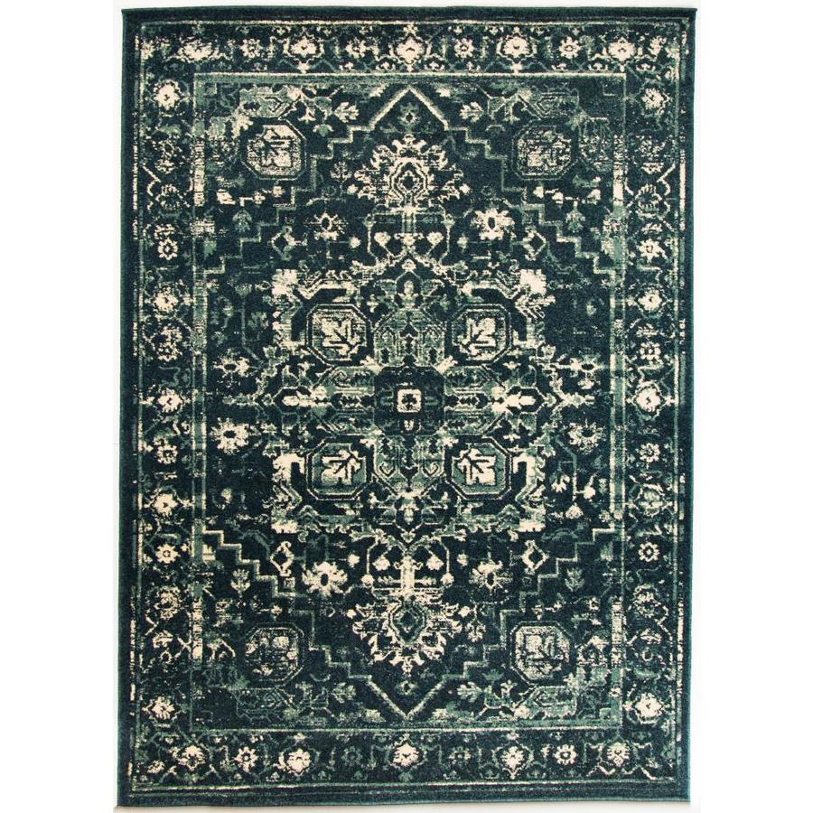 Allen Roth Parkor 8ft X 10ft Blue Rectangular Indoor Machine Made French Country Area Rug Common 8 X 10 Actual Country Area Rugs Area Rugs Rugs