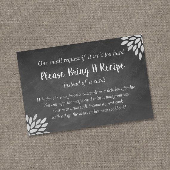 please bring a recipe instead of a card insert for bridal shower invitations recipe card cookbook