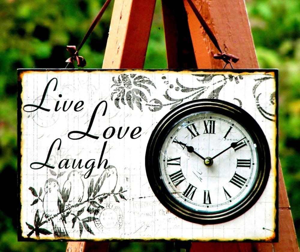 Live Laugh Love Wood Wall Clock Rustic Chic Antique French Style Roman Numerals Country French $25.95 Free Shipping. Sweet!