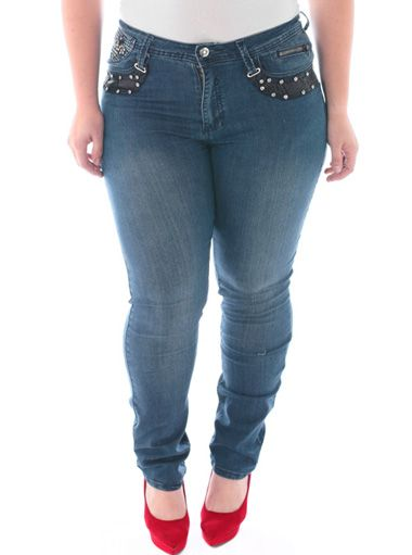 Plus Size Silver Stud Diva Blue Skinny Jeans Dazzled premium denim ...