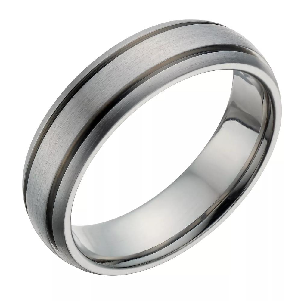 Titanium 6mm Satin & Polished Ridged Ring H.Samuel in