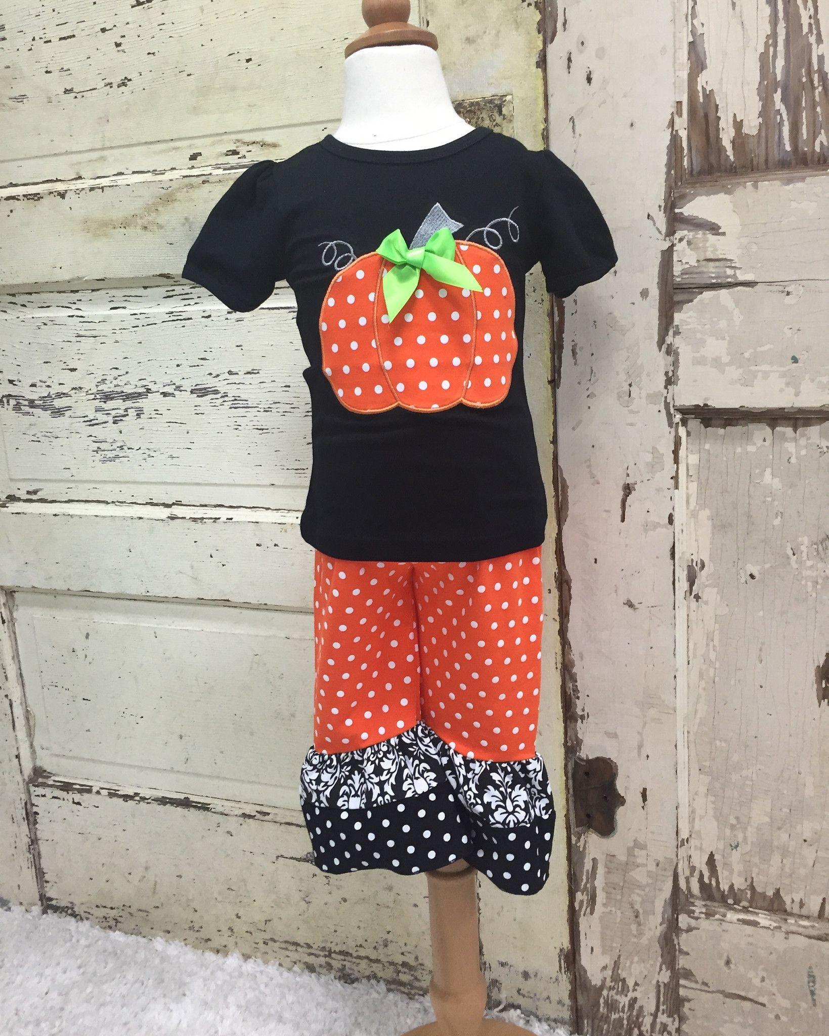 Polka Dotted Pumpkin Ruffled Set