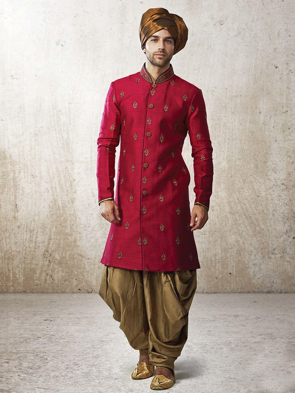 Shop g exclusive silk red men festive wear kurta suit online from