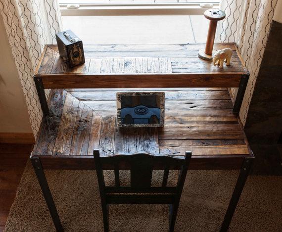 Repurposed pallet wood desk tiered with metal legs pinterest