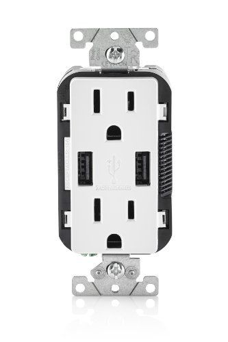 Leviton T5632-BE 15 Amp Duplex Decora Receptacle  USB Charger//Tamper Resistant
