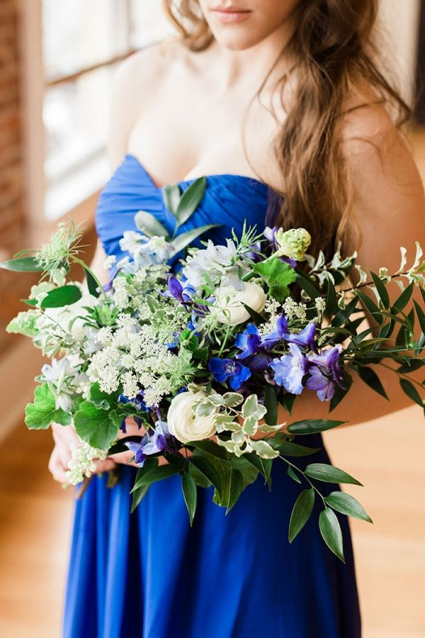 766a6cb06f3 Watercolor Wedding Cake · Bridesmaid in Bright Blue with an Organic Bouquet