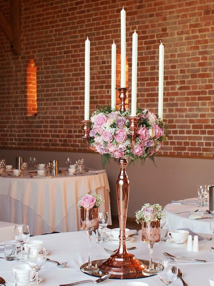 Rose gold candelabra, wedding centrepiece, pink roses ...