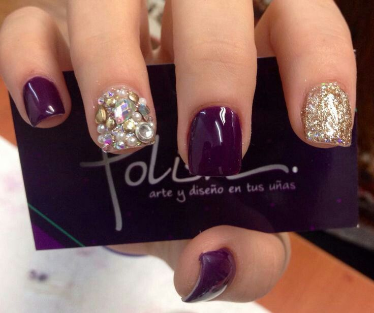 Morado Y Dorado Cosas De Mama Pinterest Nails Gelish Nails Y
