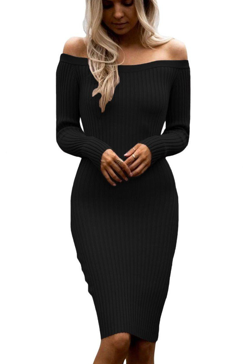 12073bd5de Black Off Shoulder Long Sleeve Midi Rib Knit Sweater Dress ChicLike.com   Black