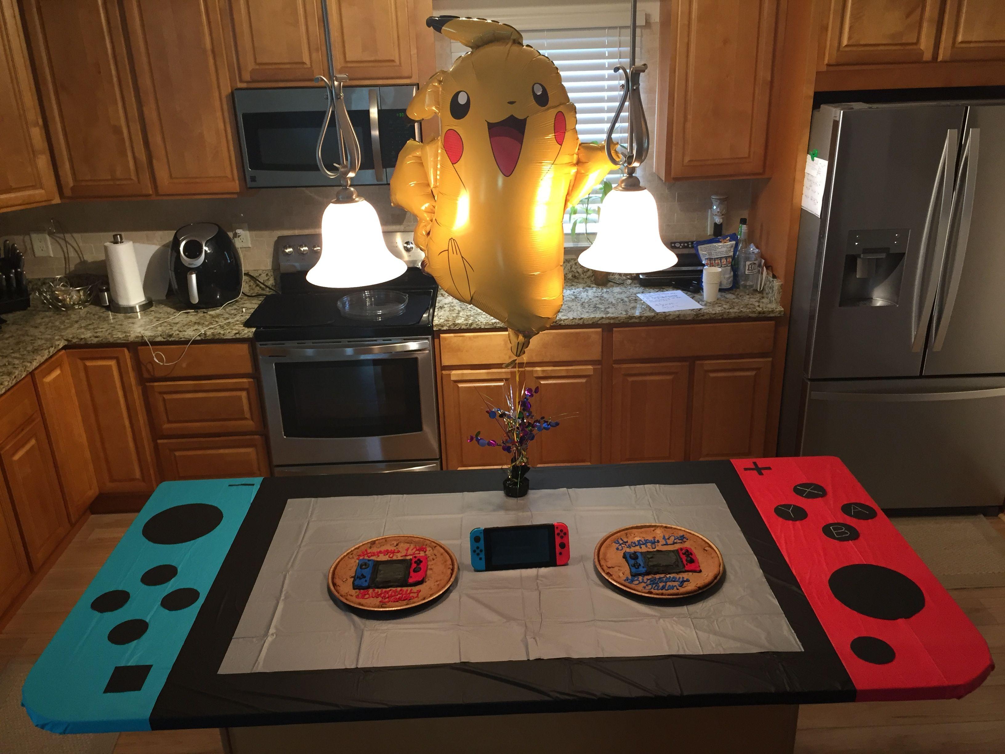 Nintendo switch party table I made. Nintendo birthday