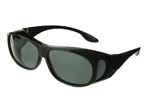 fff628402f6 LensCovers Sunglasses Wear Over Prescription Glasses - Medium Size  Polarized (Black) Polarized