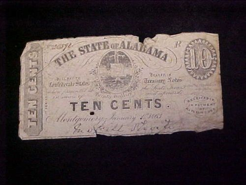 1863 State of Alabama 10 Cents Bank Note Civil War Era Authentic | eBay