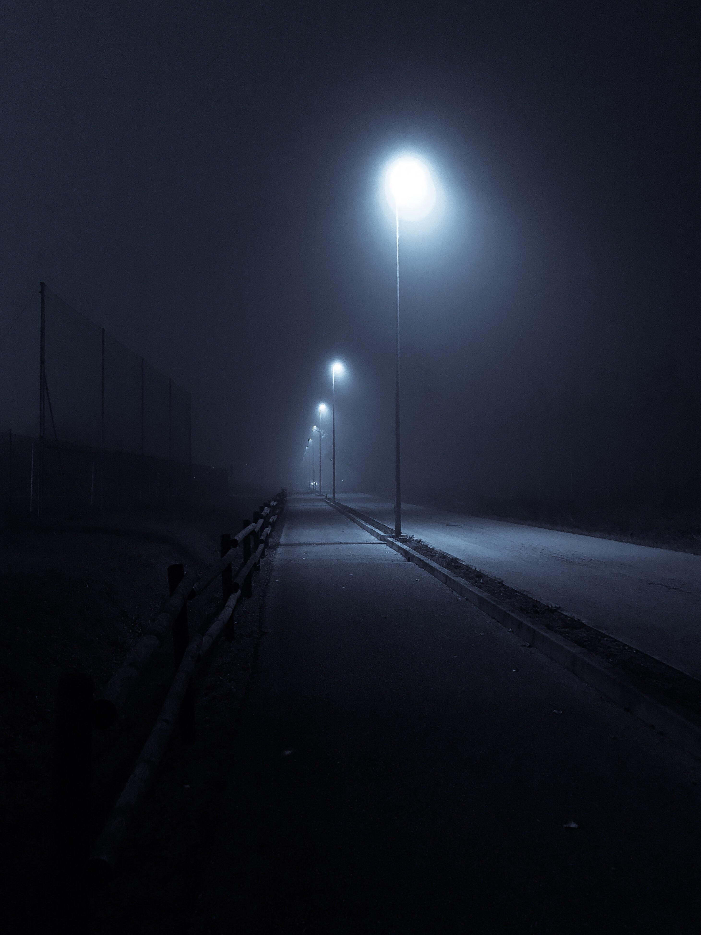 Itap Of A Road In A Foggy Night Night Scenery Night Aesthetic Dark Photography Dark street night fog light mist