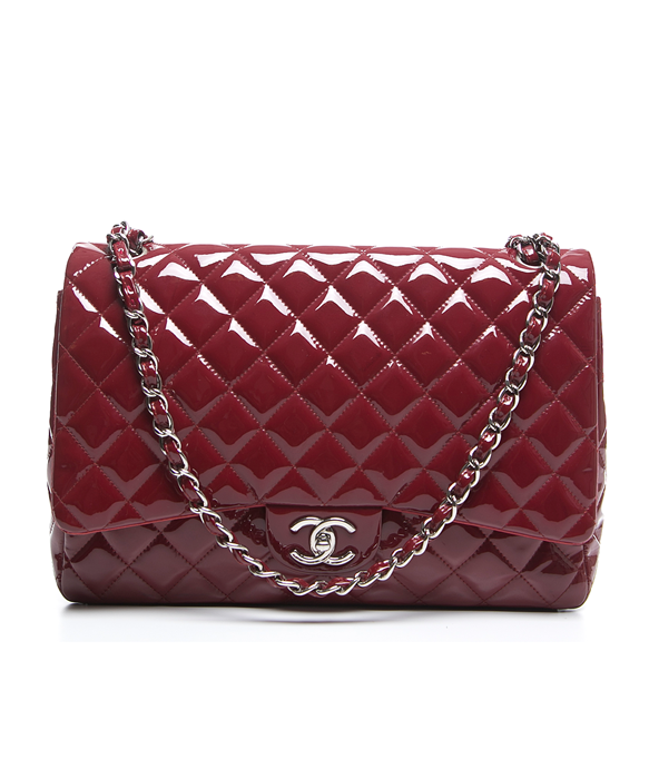 e7eafbc1032f Pre-Owned Chanel Red Patent Leather Maxi Double Flap Bag